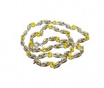 Кантхимала туласи с желтым камнем , однорядная, 42 см, диаметр бусин 4 мм, диаметр камней 4 мм