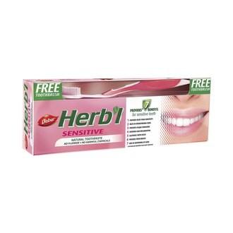 Зубная паста для чувствительных зубов, Дабур (Herbal Sensetive, Dabur) 150 гр + з/щетка - 1