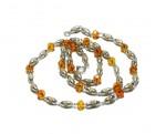 Кантхимала туласи с оранжевым камнем , однорядная, 42 см, диаметр бусин 4 мм, диаметр камней 4 мм