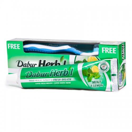 Зубная паста-гель Мята и Лимон, Дабур (Тoothpaste Mint & lemon, Dabur) 150 гр + з/щетка - 1