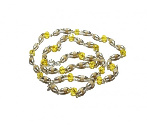 Кантхимала туласи с желтым камнем , однорядная, 42 см, диаметр бусин 4 мм, диаметр камней 4 мм - 1