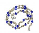 Кантхимала туласи с синим камнем , однорядная, 42 см, диаметр бусин 4 мм, диаметр камней 4 мм