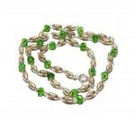 Кантхимала туласи с зеленым камнем , однорядная, 42 см, диаметр бусин 4 мм, диаметр камней 4 мм