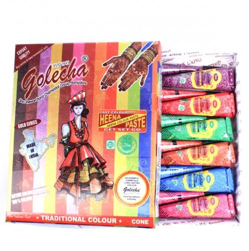 Набор цветной (6 цветов) хны в тюбиках для росписи по телу Golecha, 12 тюб. по 25 гр . - 1
