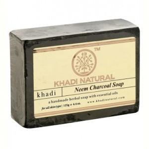Мыло Ним и Бамбуковый Уголь, Кхади (Herbal Neem Charcoal Soap Khadi Natural) 125 гр - 1