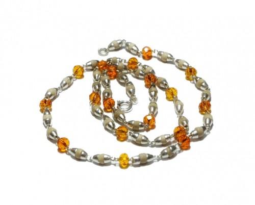 Кантхимала туласи с оранжевым камнем , однорядная, 42 см, диаметр бусин 4 мм, диаметр камней 4 мм - 1