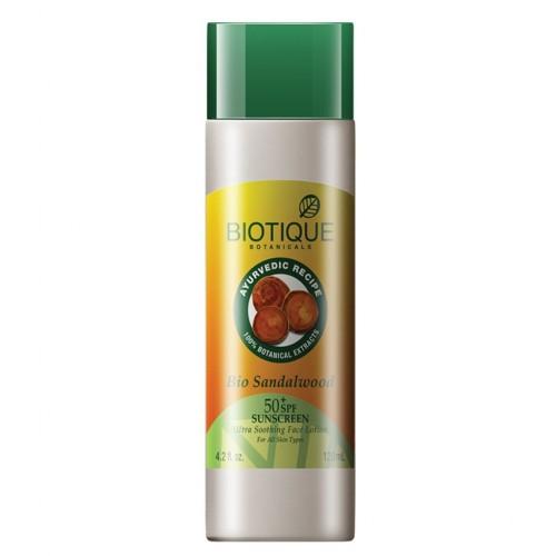 Био Сандал лосьон SPF 50 с UVA/UVB фильтрами (Biotique, Bio Sandalwood lotion), 120 мл - 1