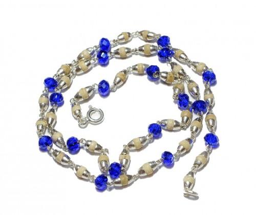 Кантхимала туласи с синим камнем , однорядная, 42 см, диаметр бусин 4 мм, диаметр камней 4 мм - 1