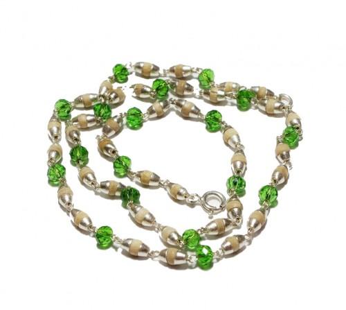 Кантхимала туласи с зеленым камнем , однорядная, 42 см, диаметр бусин 4 мм, диаметр камней 4 мм - 1