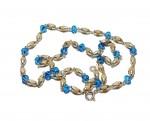 Кантхимала туласи с голубым камнем , однорядная, 42 см, диаметр бусин 4 мм, диаметр камней 4