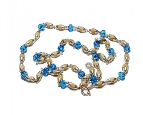 Кантхимала туласи с голубым камнем , однорядная, 42 см, диаметр бусин 4 мм, диаметр камней 4 - 1