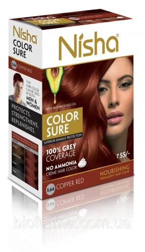 Безамиачная стойкая крем-краска для волос Nisha с маслом авокадо Медно-красная №5.64 - 1