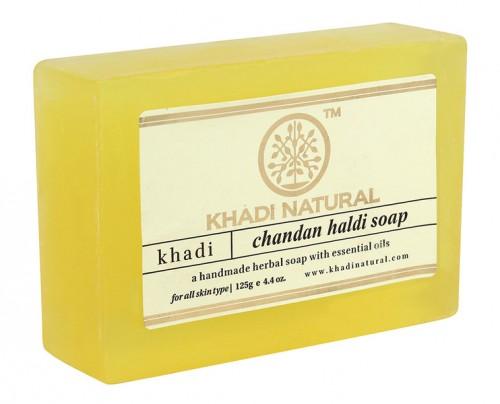 Мыло Куркума-Сандал, Кхади (Herbal Haldi Chandan Soap, Khadi) 125 гр - 1
