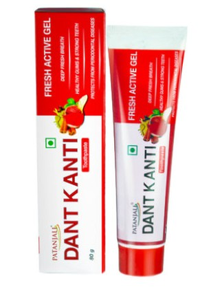 Зубная паста Дант Канти Фреш Актив Гель, Патанджали (Toothpaste Dant Kanti Fresh Active Gel, Patanjali) 80 гр - 1